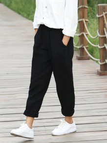 Black Patchwork Pockets High Waisted Fashion Pant