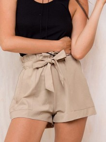 Apricot Bow Sashes Pockets High Waisted Fashion Shorts