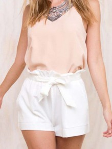 White Bow Sashes Pockets High Waisted Fashion Shorts