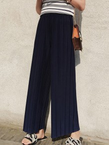 Navy Blue Pleated High Waisted Chiffon Nine's Wide Leg Palazzo Pants