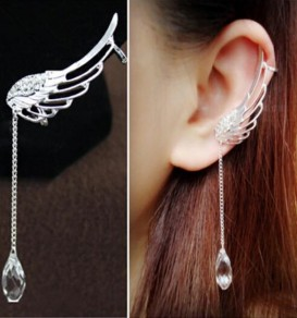 Silver Wing Dangle Alloy 2-in-1 Earrings