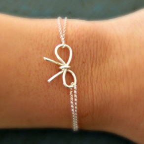 Silver Fashion Alloy Bow Charm Bracelet