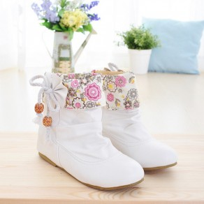 White Bow Floral Print Within The Higher Casual Ankle Boots