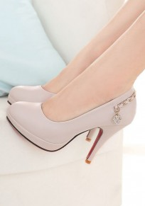Beige Round Toe Stiletto Metal Chain Casual High-Heeled Shoes