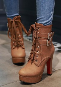 Brown Round Toe Chunky Double Buckle Fashion Martin Boots