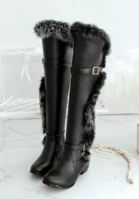 Black Round Toe Mid Fur Fashion Knee-High Boots
