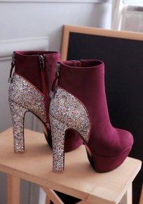 Red Round Toe Chunky Sequin Fashion Ankle Boots