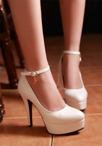 White Point Toe Stiletto Buckle Casual High-Heeled Shoes