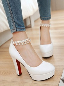 White Round Toe Chunky Pearl Fashion High-Heeled Shoes