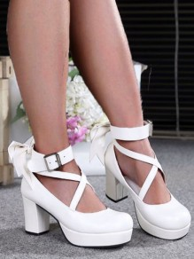 White Round Toe Chunky Pumps Bow Buckle Sweet Wedding Prom Lolita High-Heeled Ankle Strap Shoes