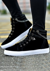 Black Round Toe Metal Affection Casual Lace-up Flat Shoes