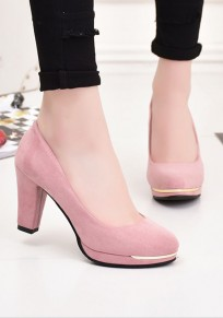 Pink Round Toe Chunky Casual High-Heeled Shoes