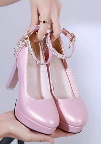 Pink Round Toe Chunky Sequin Pearl High-Heeled Shoes