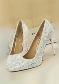 White Point Toe Stiletto Fashion Sequin High-Heeled Shoes