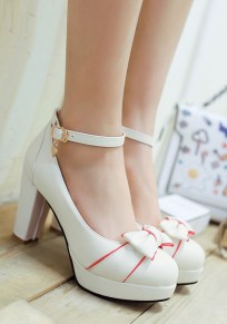 White Round Toe Chunky Bow Cute High-Heeled Shoes