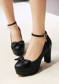 Black Round Toe Chunky Bow Buckle Casual High-Heeled Shoes