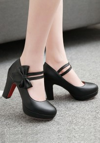 Black Round Toe Chunky Bow Casual High-Heeled Shoes