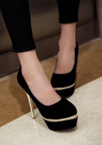 Black Round Toe Stiletto Fashion Patchwork High-Heeled Shoes