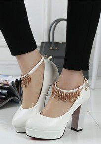 White Round Toe Chunky Fashion Buckle High-Heeled Shoes