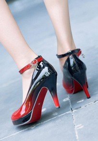 Wine Red Round Toe Stiletto Buckle Fashion High-Heeled Shoes