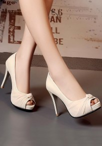 Beige Piscine Mouth Stiletto Bow Fashion High-Heeled Sandals