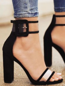 Black Round Toe Chunky Ankle Strap Block Buckle Transparent Clear Casual High-Heeled Sandals