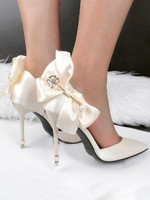 Light Golden Point Toe Stiletto Bow Pearl Satin Elegant Wedding Prom High-Heeled Shoes