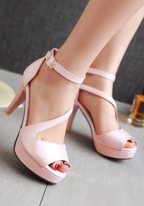 Pink Piscine Mouth Stiletto Cross Buckle Fashion High-Heeled Sandals