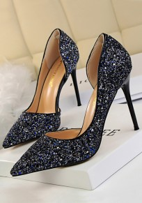 Blue Point Toe Stiletto Sequin Fashion High-Heeled Shoes