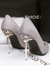 Grey Point Toe Stiletto Suede Fashion High-Heeled Shoes