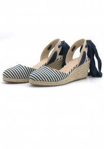 Blue Round Toe Wedges Striped Print Casual Wedges