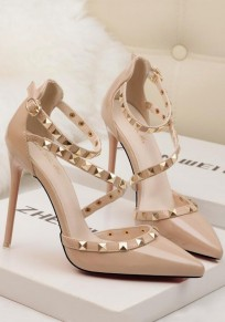Apricot Point Toe Stiletto Rivet Buckle Fashion High-Heeled Shoes
