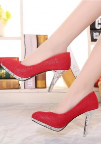 Red Round Toe Stiletto Fashion High-Heeled Shoes