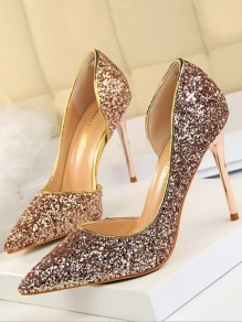 Champagne Point Toe Stiletto Sequin Fashion High-Heeled Shoes