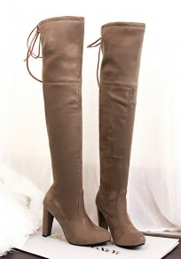 Apricot Round Toe Chunky Lace-up Casual Over-The-Knee Boots