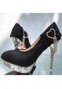 Black Round Toe Stiletto Bow Casual High-Heeled Shoes
