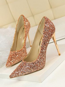 Champagne Point Toe Stiletto Sequin Glitter Fashion Prom High-Heeled Shoes