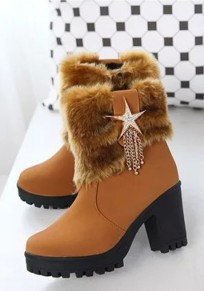 Brown Round Toe Chunky Rhinestone Faux Fur Casual Ankle Boots