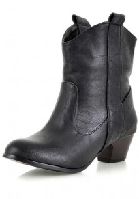 Black Round Toe Chunky Casual Ankle Boots