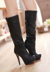 Black Round Toe Stiletto Casual Knee-High Boots