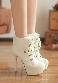 White Round Toe Stiletto Lace-up Casual Boots