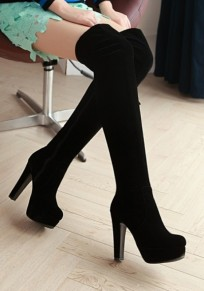 Black Round Toe Chunky Casual Over-The-Knee Boots