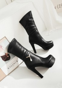 Black Round Toe Chunky Casual Mid-Calf Boots