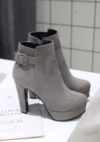 Grey Round Toe Chunky Buckle Casual Ankle Boots