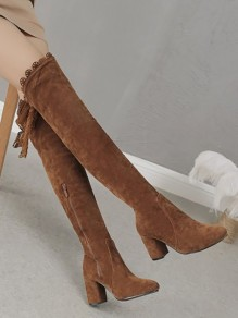 Brown Round Toe Chunky Cross Strap Fashion Over-The-Knee Boots