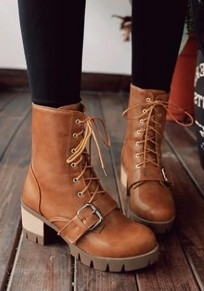 Yellow Round Toe Chunky Buckle Casual Mid-Calf Bootss