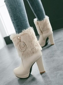 Apricot Round Toe Chunky Rhinestone Fashion Ankle Boots