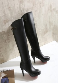 Black Round Toe Stiletto Buckle Fashion Over-The-Knee Boots