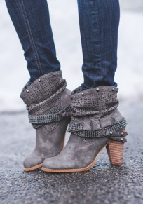 Grey Round Toe Chunky Rivet Fashion Ankle Boots