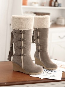 Beige Round Toe Wedges Cross Strap Tassel Fashion Mid-Calf Boots